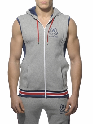 Addicted Zip Cotton Hoody Heather Grey