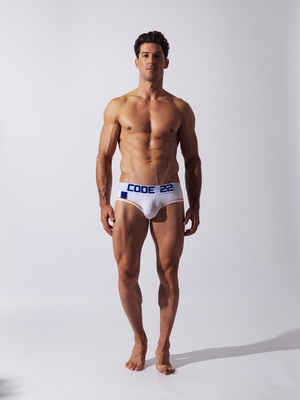 CODE 22 Double Seam Stripe Brief White