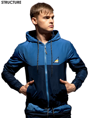 PRIVATE STRUCTURE Two Tone Hoodie Jacket Navy/Blue