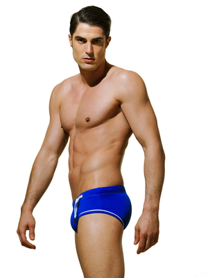 Blue Code Contrast Stitching Swim Brief Blue