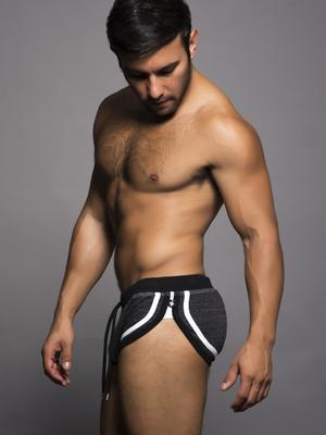Andrew Christian Drill Running Shorts Vintage Black