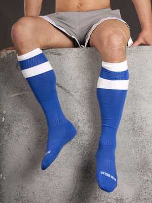 Barcode Football Socks Blue/White