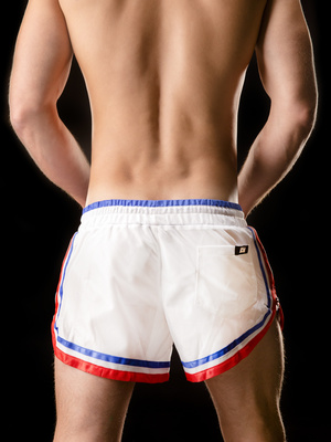 Barcode Shorts Rogério White-Blue-Red