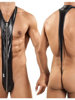 Candyman Sleek Zip Singlet Thong Black