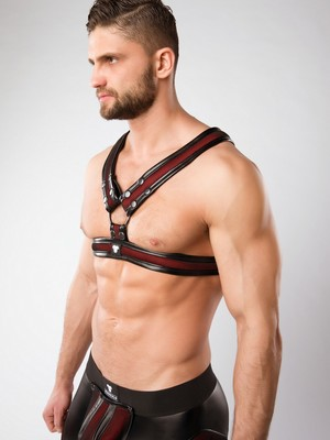 MASKULO Armored Color-Under '2 Fronts' Chest Harness Red