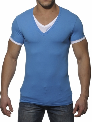 Addicted V-Neck Double Effect T-Shirt Blue Surf/White