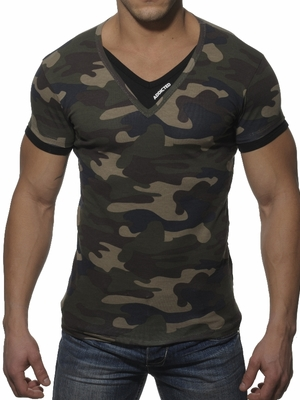 Addicted V-Neck Double Effect T-Shirt Camouflage