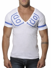 Addicted 69 V-Neck T-Shirt White