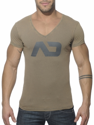 Addicted Vintage V-Neck T-Shirt Kaki