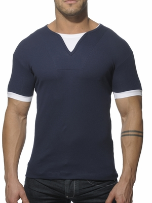 Addicted Ribbed T-Shirt Navy