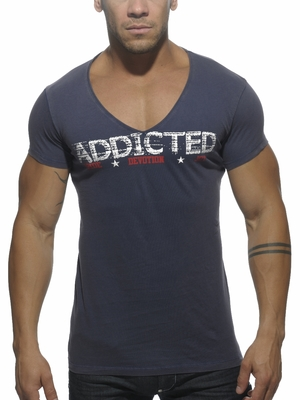 Addicted V-Neck Addicted T-Shirt Navy