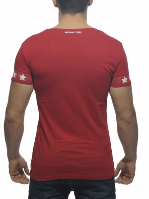 ADDICTED Helmet V-Neck T-Shirt Red