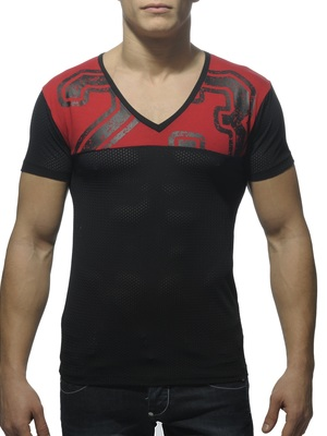 Addicted V Neckline Mesh T-Shirt Black