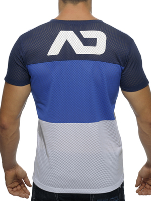 Addicted Three Colors Mesh Round Neck T-Shirt Navy