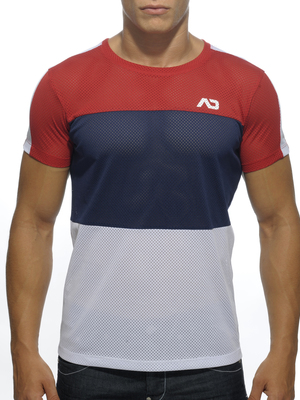 Addicted Three Colors Mesh Round Neck T-Shirt Red
