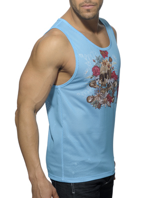 ADDICTED Skull Roses Tank Top Turquoise