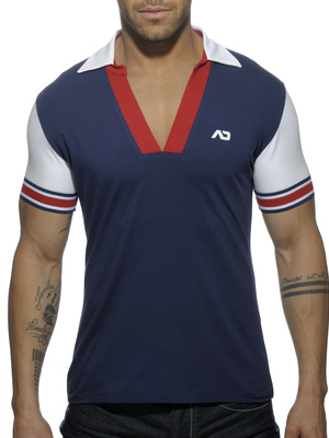 ADDICTED SLEEVE CONTRASTED POLO Navy