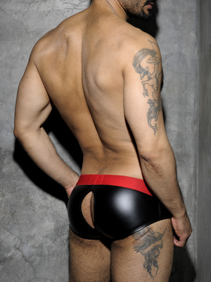 ADDICTED FETISH Rub Brief Back Open Red