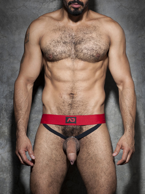 ADDICTED FETISH Cockring Double Jock Red