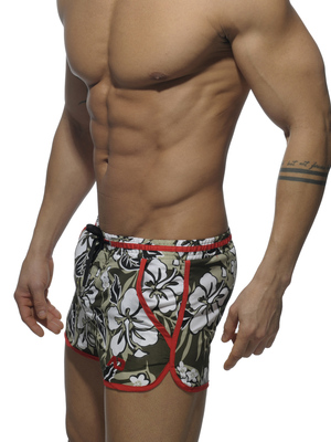 Addicted Camouflage Flower Print Swim Short Red
