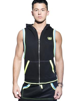 Andrew Christian Blaze Sleeveless Hoodie Black