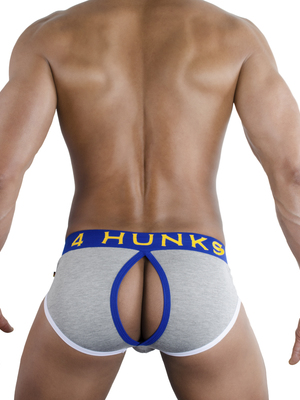 4 Hunks Brief Slash Bottomless Brief White Anthrazit Grey