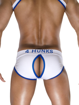 4 Hunks Brief Slash Bottomless Brief White