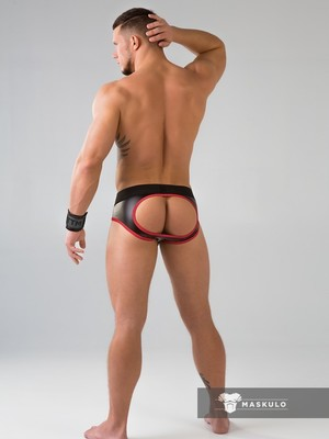 MASKULO Youngero Men's Fetish Briefs Mesh Codpiece Open Rear Red