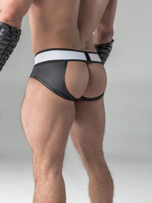 Maskulo Rubber look Briefs Detachable Pouch Open Rear Black