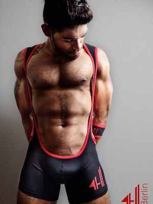 4 Hunks CATCHER HUNK Cross Wrestling Singlet Black/Red