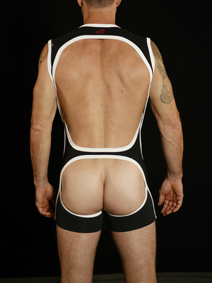 4 Hunks CATCHER HUNK Cross Wrestling Open Butt Singlet Black/White