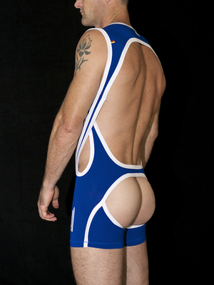 4 Hunks CATCHER HUNK Cross Wrestling Open Butt Singlet Royal Blue