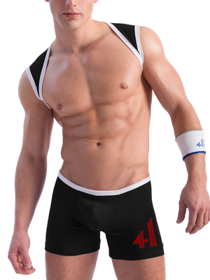 4 Hunks CATCHER LAD Low Cut Wrestling Singlet Black/White