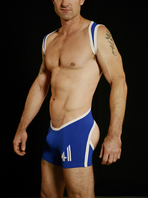 4 Hunks CATCHER LAD B FREE Bottomless Low Cut Wrestling Singlet Royal Blue