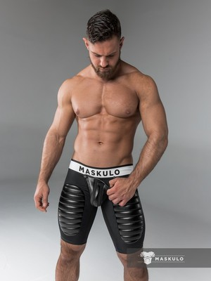 Maskulo Men's Fetish Shorts Codpiece Open Rear Thigh Pads Black (COT)