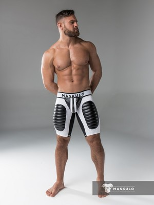 Maskulo Men's Fetish Shorts Codpiece Open Rear Thigh Pads White/Black (COT)