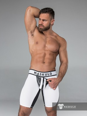 Maskulo Men's Fetish Shorts Codpiece White/Black (CRR)