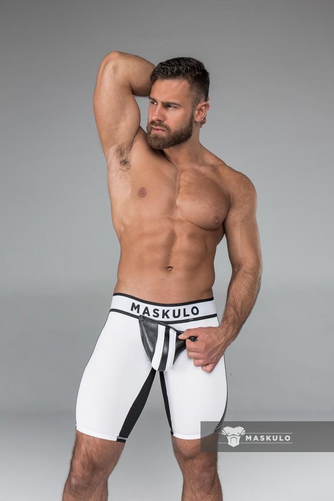 maskulo men s fetish shorts codpiece white black crr