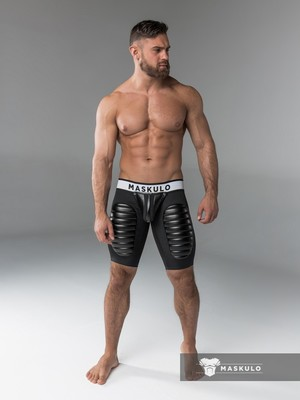 Maskulo Men's Fetish Shorts Codpiece Thigh pads Black (CRT)