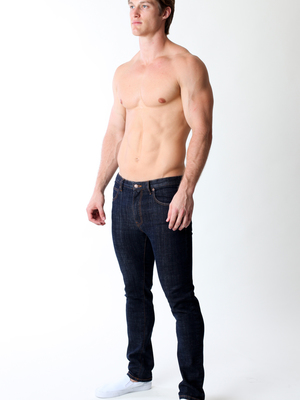 Timoteo Angelino Low Rise Straight Leg Denim Midnight Blue