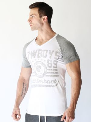 DRANGED COWBOYS FITTED RAGLAN VNECK White/Grey