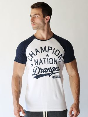 DRANGED CHAMPION NATION FITTED RAGLAN TSHIRT White/Navy