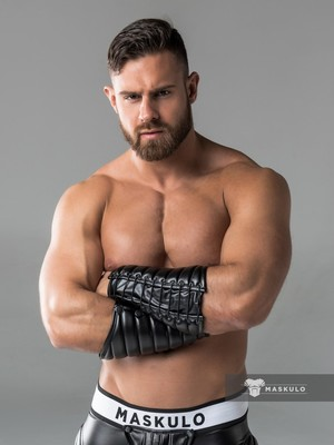 Maskulo Leather-Look Forearm Guard Wallet Black (AC1090)