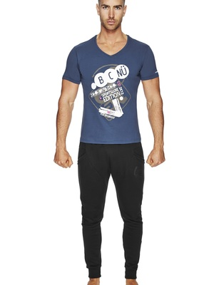 BCNU Commuter Fitted V-Neck Tee Indigo