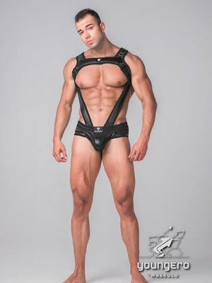 MASKULO Youngero Generation Y. Men's Fetish Bulldog Harness with Cockring Black