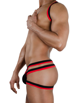 4 Hunks Male Support Designer Push up Jock Black/Red