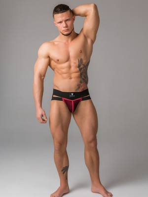 MASKULO Youngero Men's Fetish Jockstraps Mesh Codpiece Red