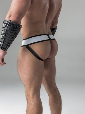 Maskulo Men's Fetish Jockstrap Detachable Codpiece Royal Blue/Black