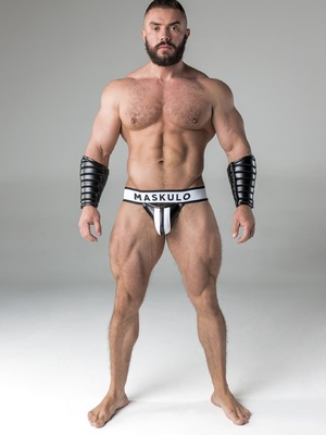 Maskulo Men S Fetish Jockstrap Detachable Codpiece White