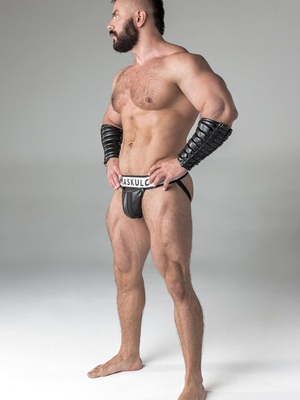 Maskulo Men's Fetish Jockstrap Detachable Codpiece Black